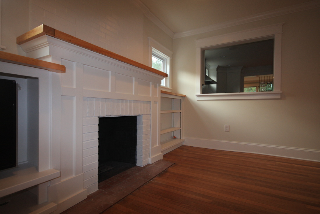 Craftsman style fireplace mantel - Top Drab Fireplace We Aimed For The Style To Compliment The Shaker Doors And Kitchen To Top It Off We Reclaimed The Original Mantel For The Wood Accents
