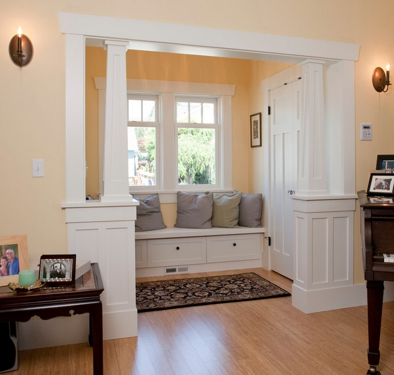 Framed half walls for the columns tomkat 39 s foursquare - Half wall interior design ...